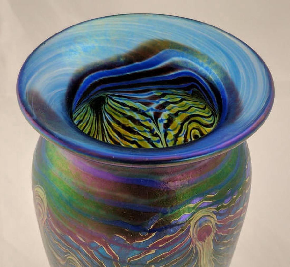 Art Glass Vase, Iridescent Peacock Feathers Design - 3