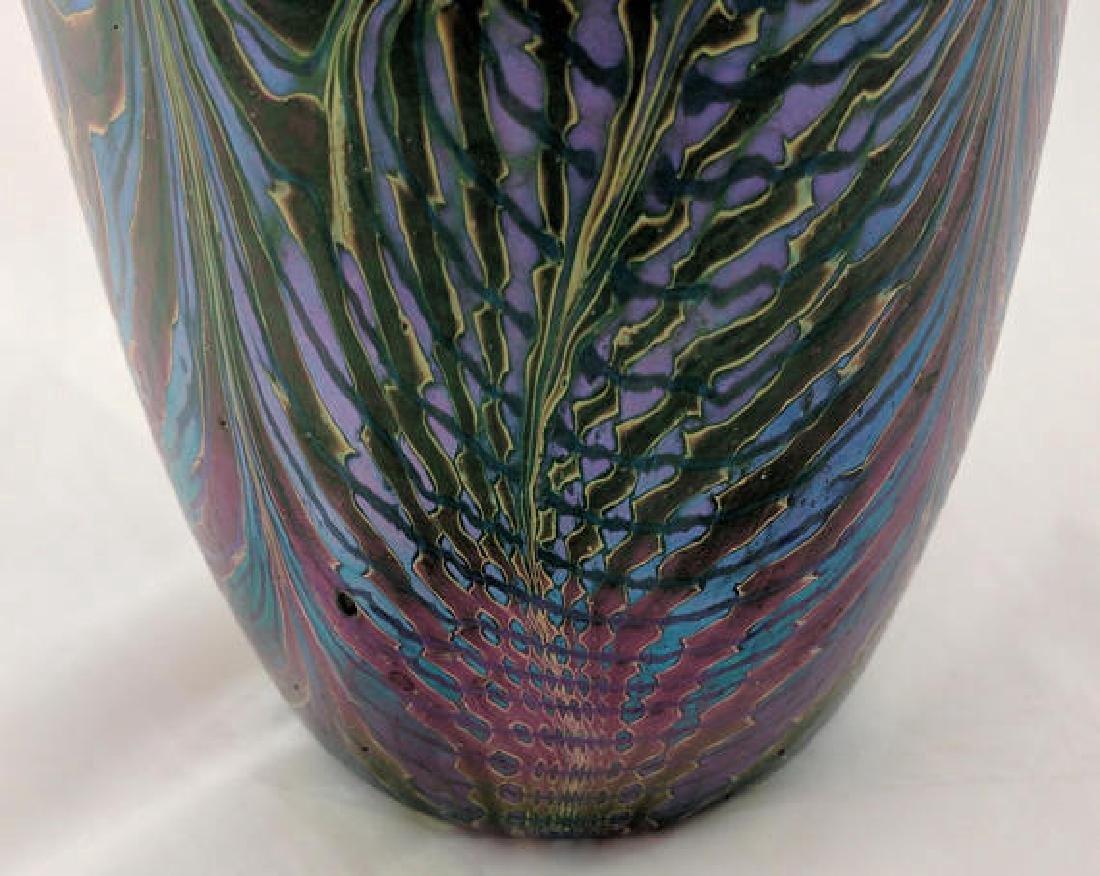 Art Glass Vase, Iridescent Peacock Feathers Design - 4