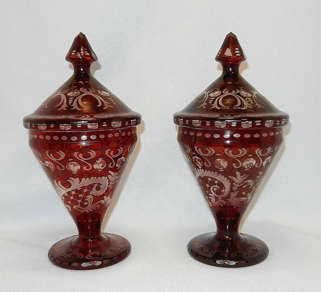 Vintage Czechoslovakia Ruby Cut to Clear Glass Compotes - 2