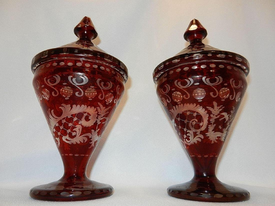 Vintage Czechoslovakia Ruby Cut to Clear Glass Compotes - 4