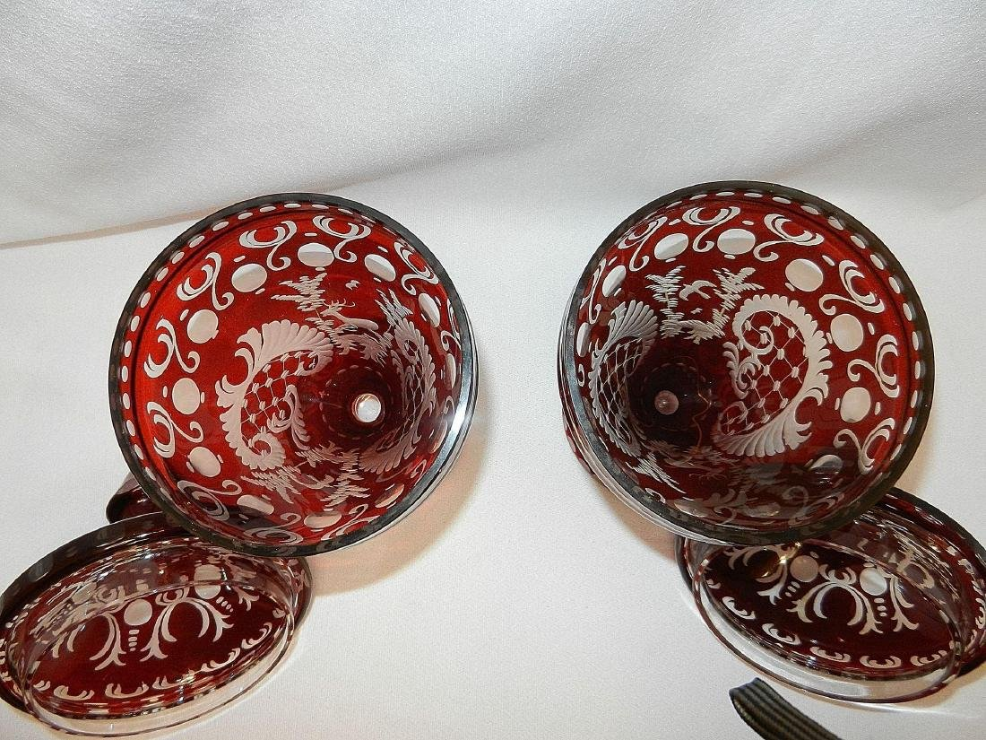 Vintage Czechoslovakia Ruby Cut to Clear Glass Compotes - 7