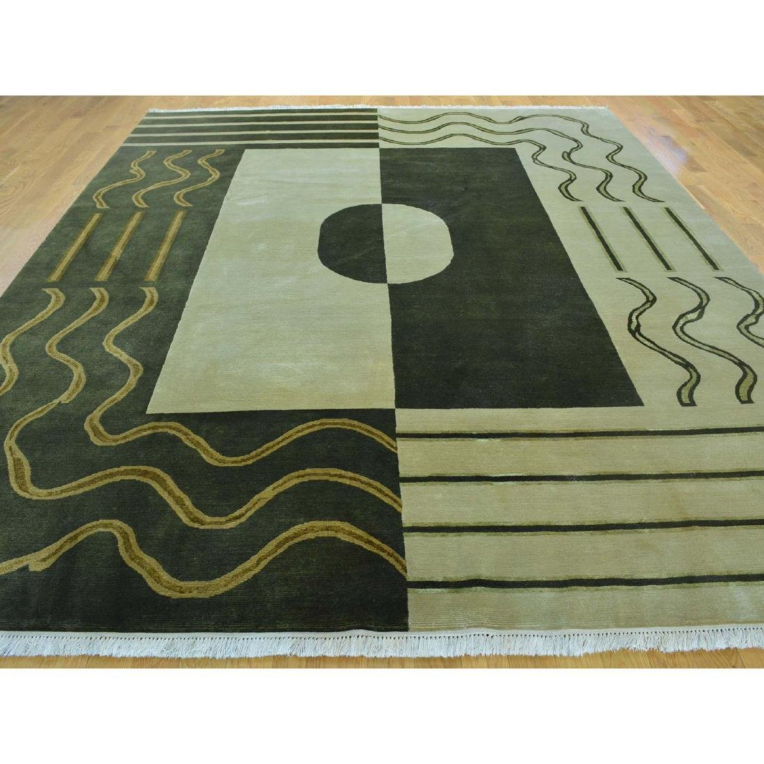 Hand Knotted Wool and Silk Modern Nepali Rug 8.1x9.10 - 2