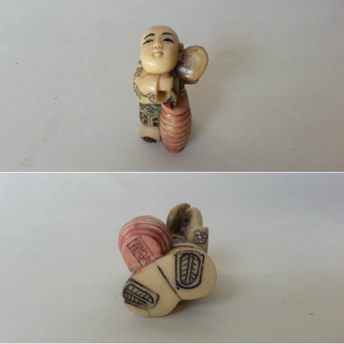 Japanese Edo Bone Netsuke Okin People 5 Piece Set - 3