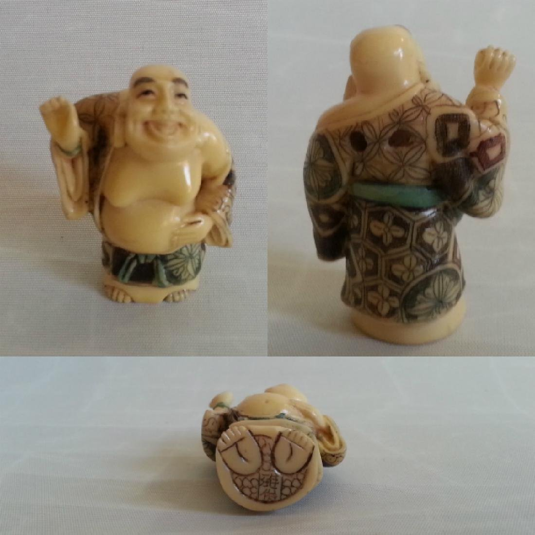 Japanese Edo Bone Netsuke Okin People 5 Piece Set - 5