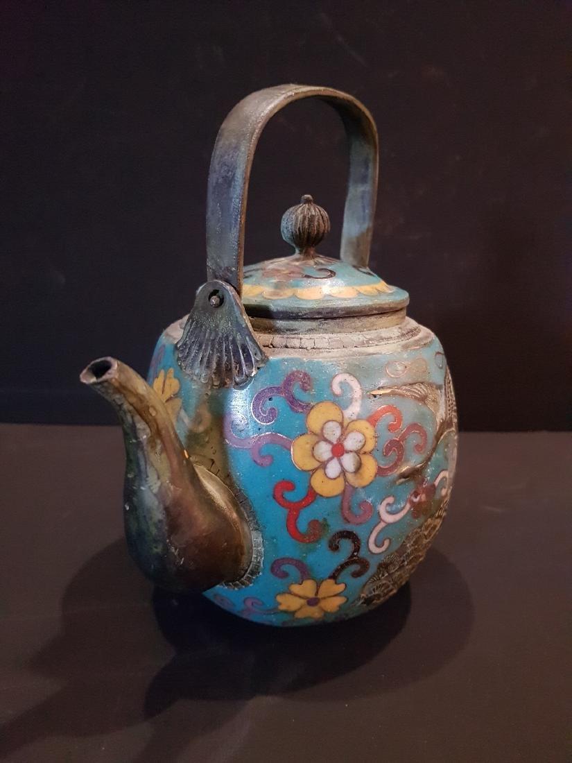 Antique Japanese Enamel Copper Teapot, 1897