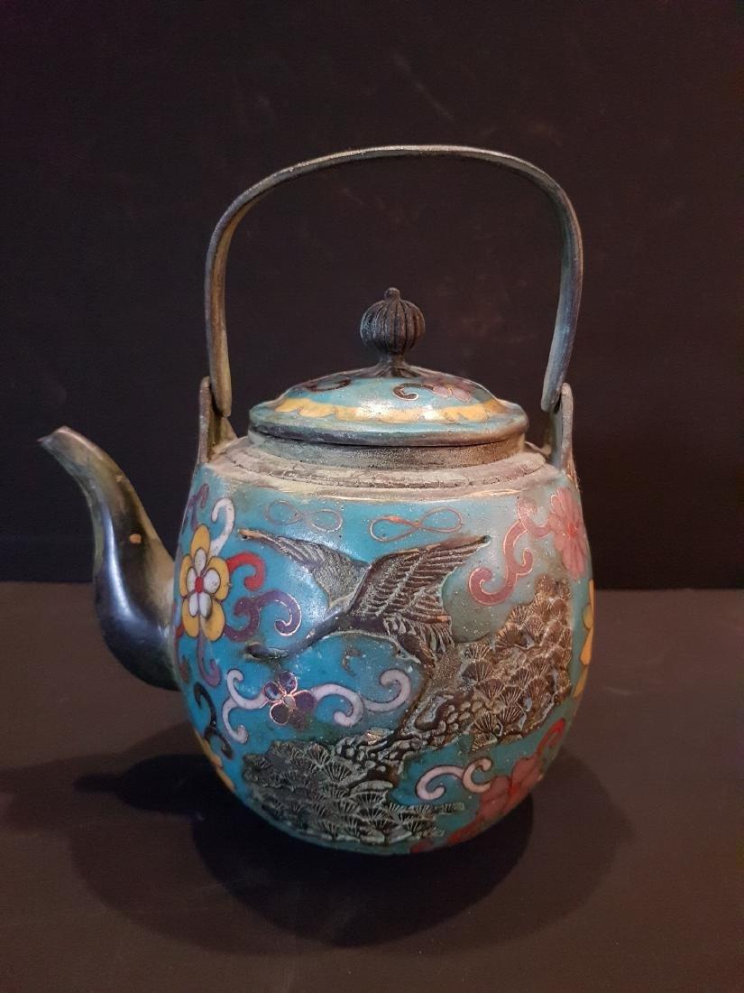 Antique Japanese Enamel Copper Teapot, 1897 - 3