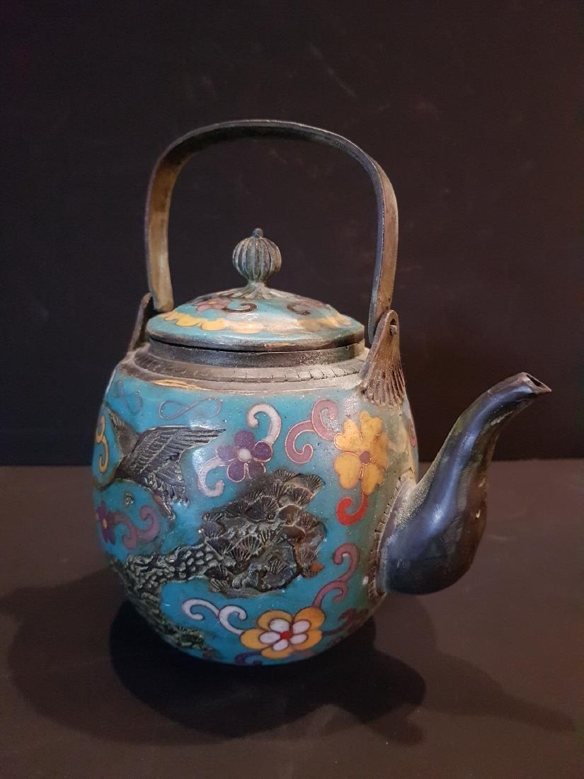 Antique Japanese Enamel Copper Teapot, 1897 - 4