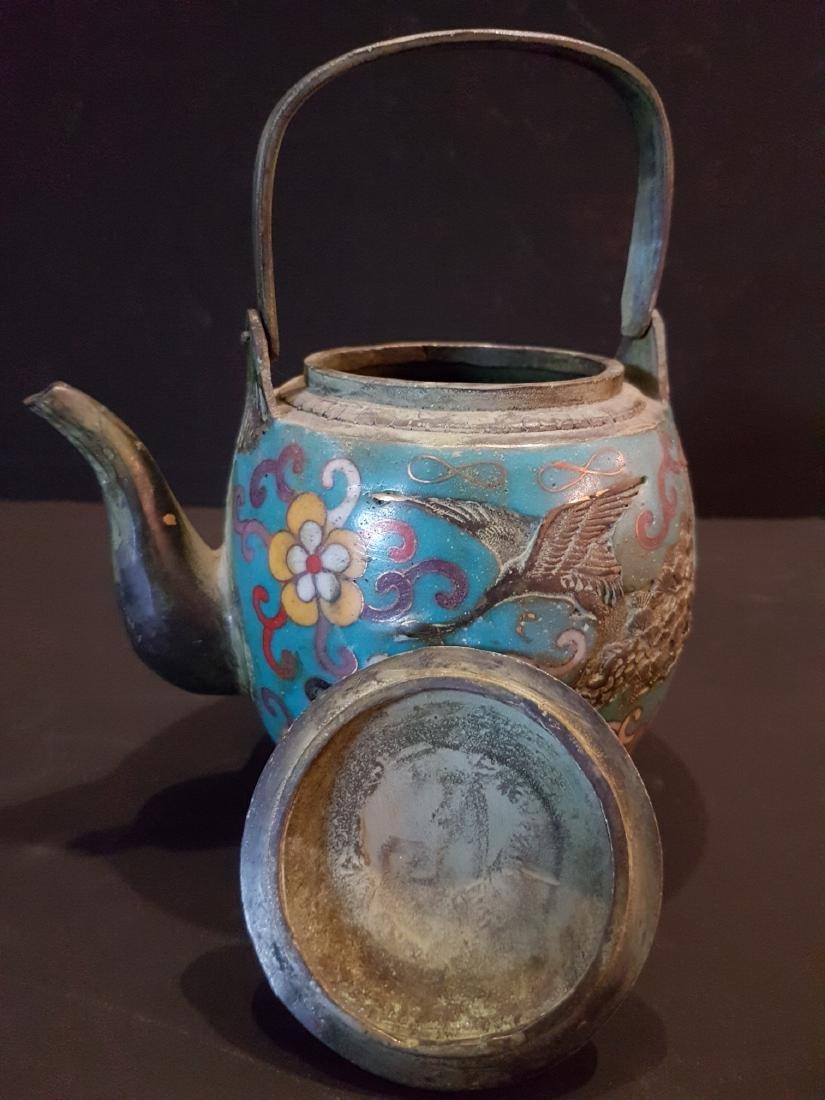 Antique Japanese Enamel Copper Teapot, 1897 - 6