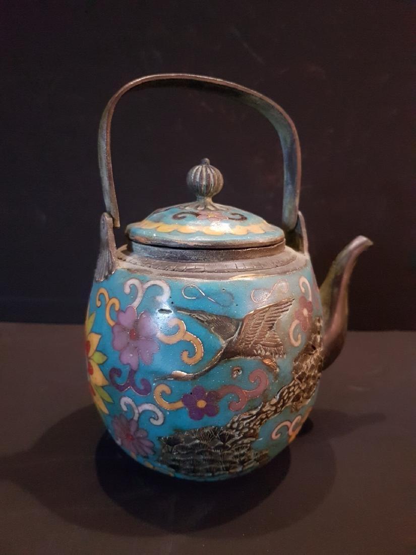 Antique Japanese Enamel Copper Teapot, 1897 - 7