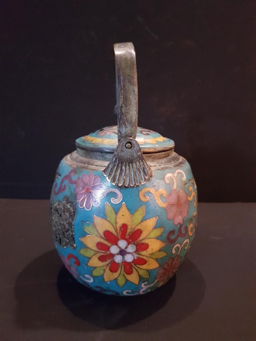 Antique Japanese Enamel Copper Teapot, 1897 - 9