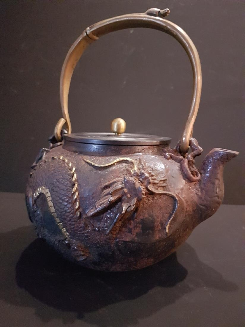Antique Japanese Iron Tetsubin Teapot, c1900 - 4