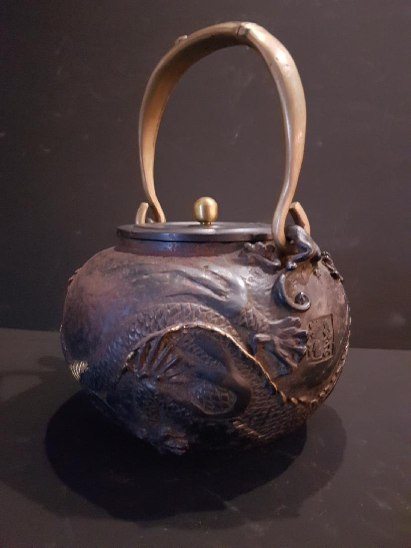 Antique Japanese Iron Tetsubin Teapot, c1900 - 7