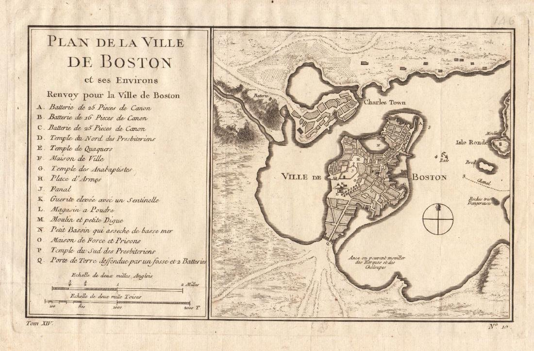 Bellin: Antique Map of Early Boston, 1757