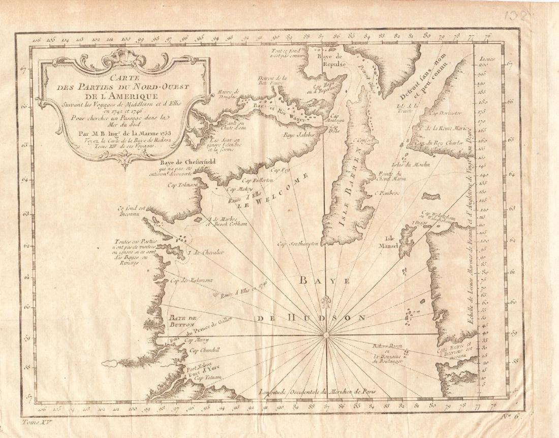 Bellin: Antique Map of Hudson Bay Region, 1753