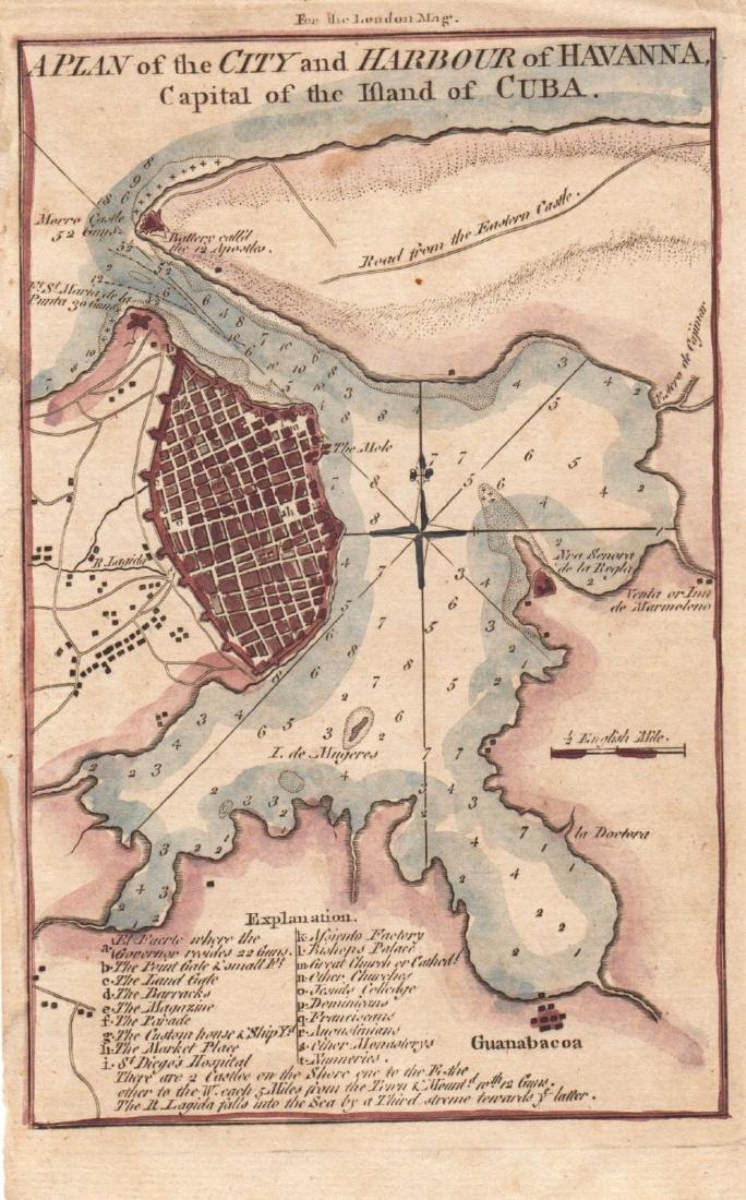 London Magazine: Antique Map of Havana, Cuba, 1762