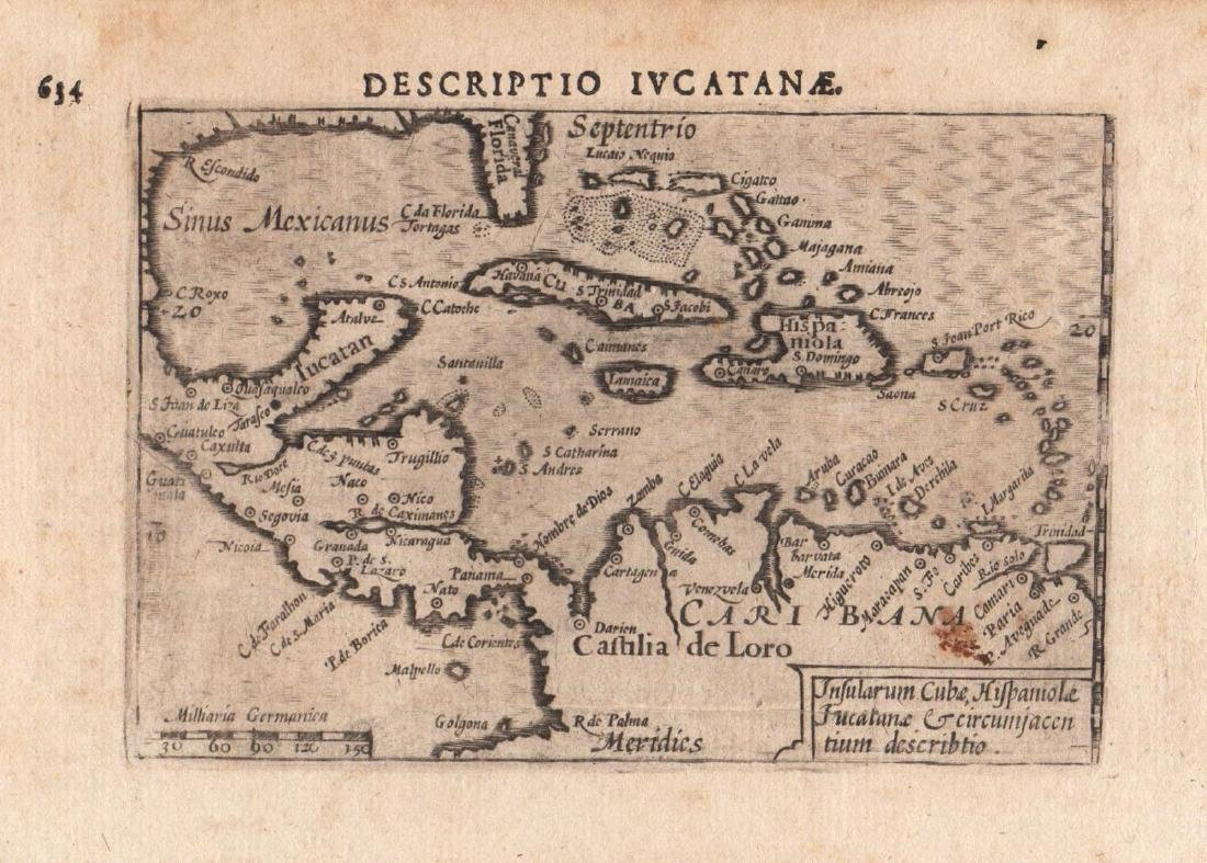 van den Keere / Langenes: Antique Map West Indies, 1598