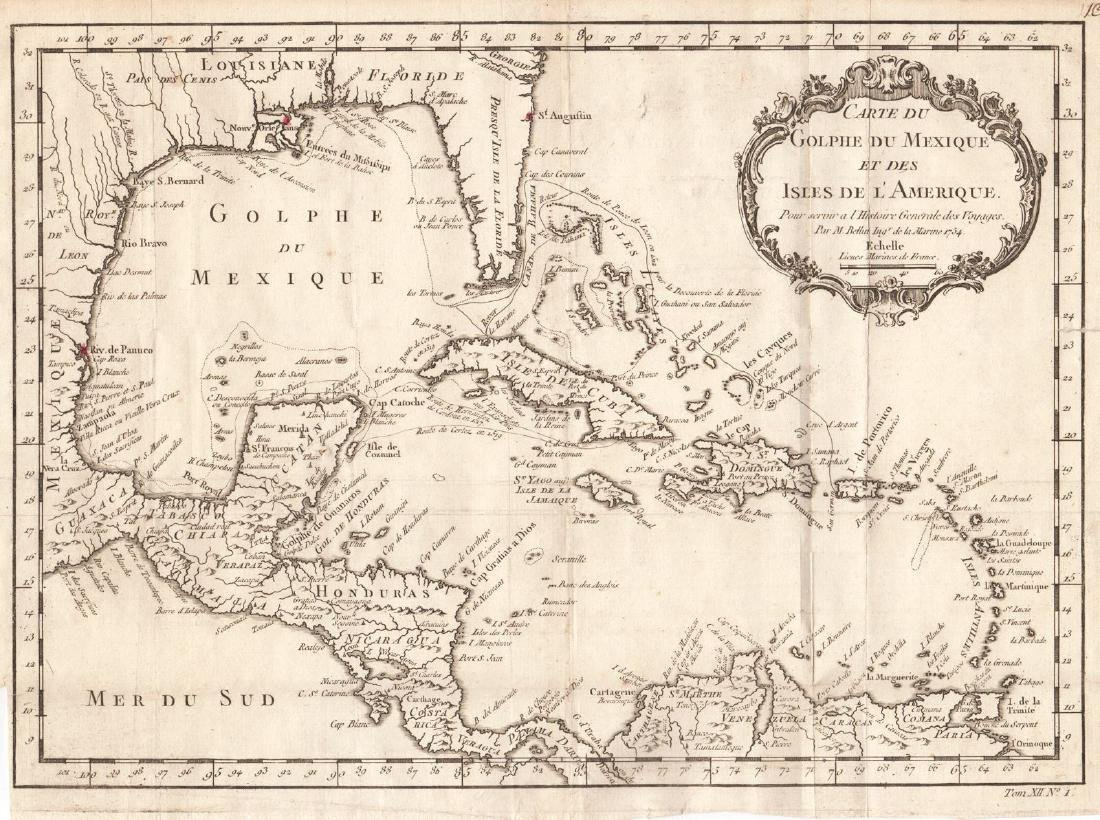 Bellin: Antique Map Gulf of Mexico & West Indies, 1754