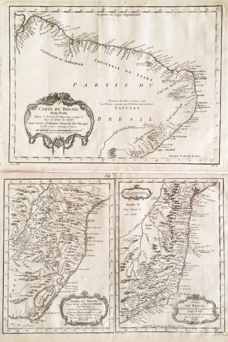Bellin: Suite of 3 Antique Brazil Maps, 1756