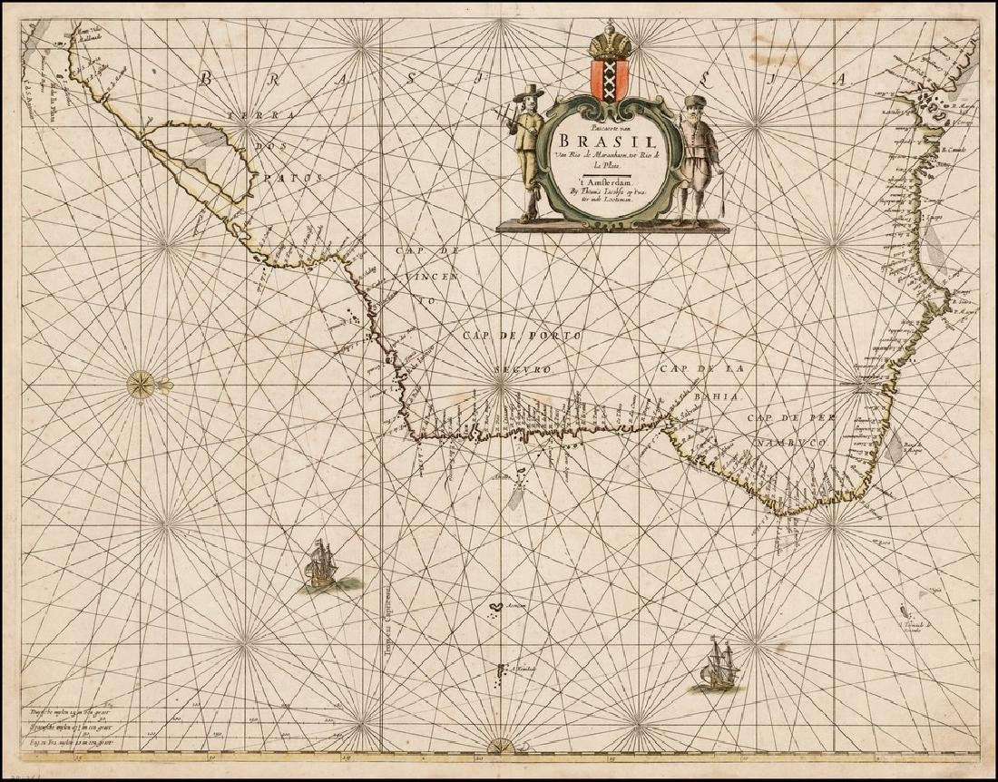 Lootsman / Jacobsz: Antique Sea Chart of Brazil, 1662