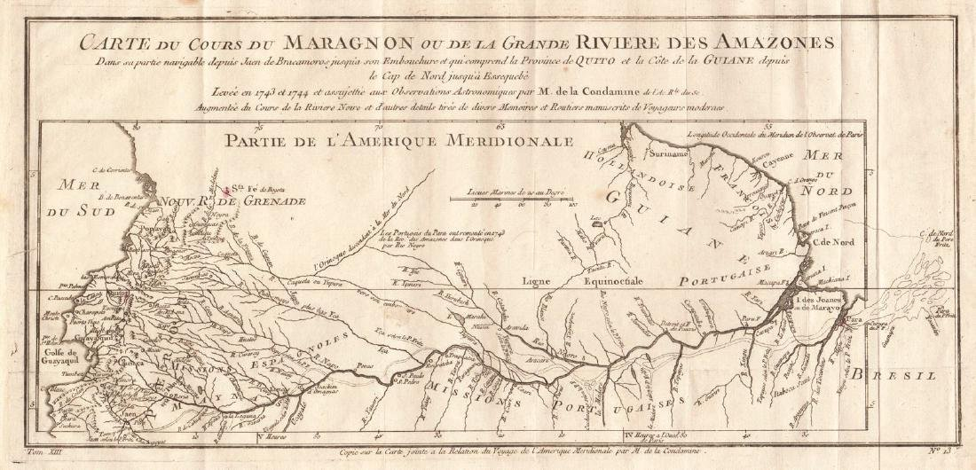 Bellin: Antique Map of Course of the Amazon, 1754