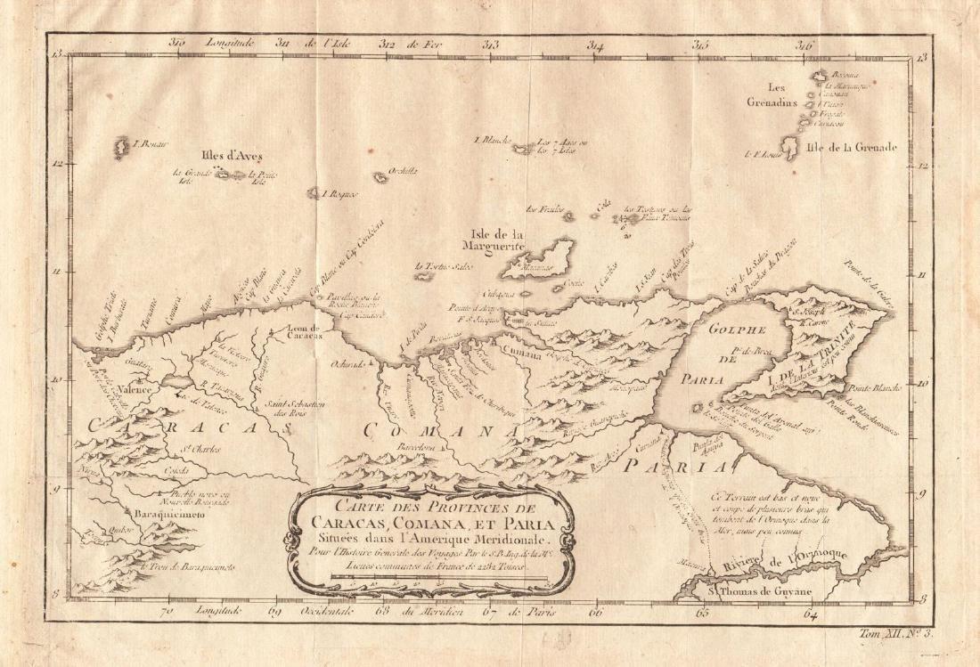 Bellin: Antique Map of Venezuela, Trinidad, 1754