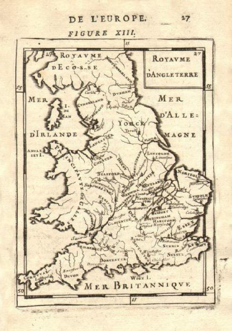 Mallet: Antique Map of England, 1683