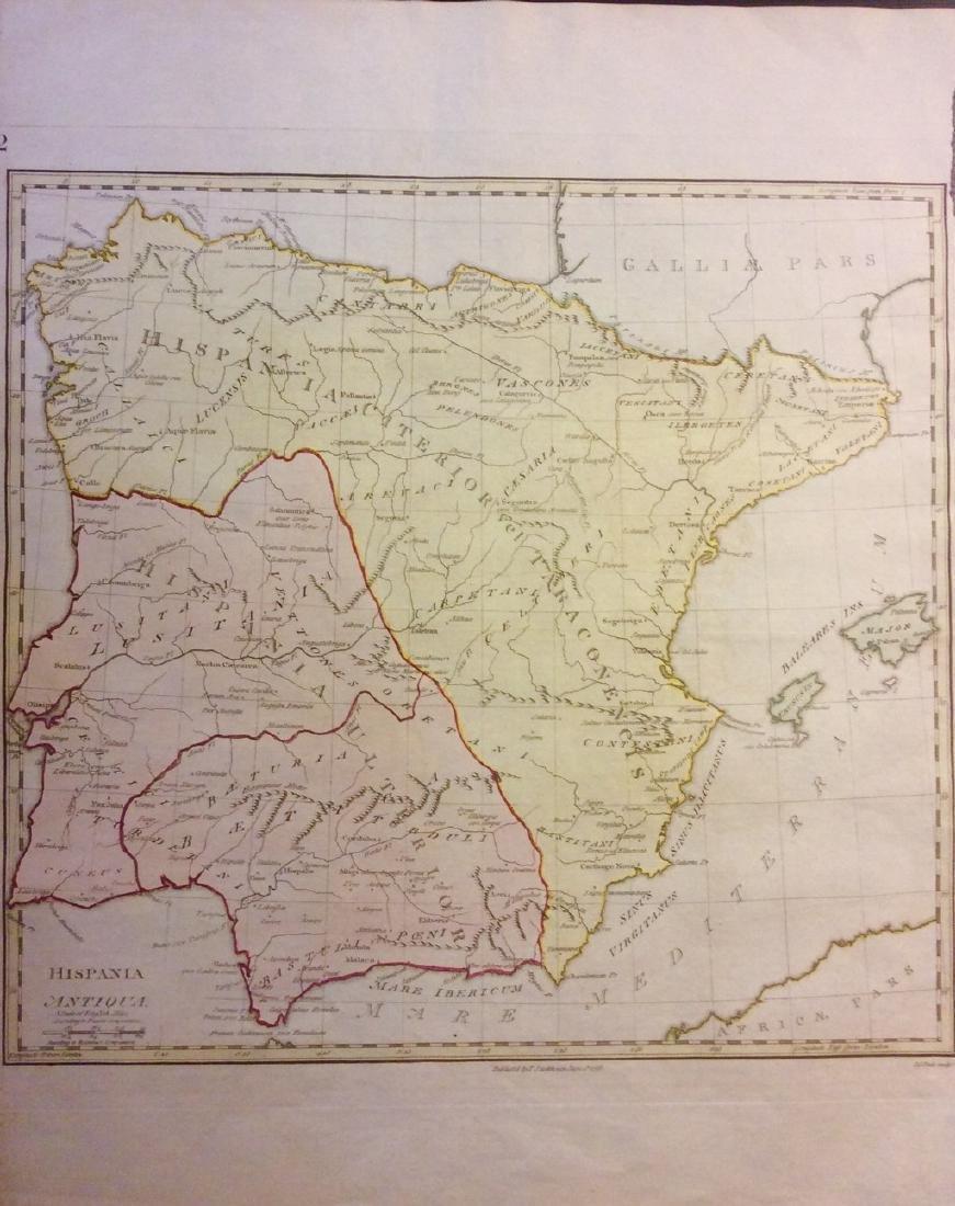 Stackhouse: Antique Map Ancient Spain & Portugal, 1783