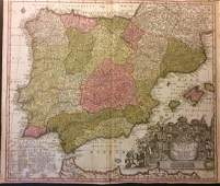 Seutter: Antique Map of Spain and Portugal, 1740