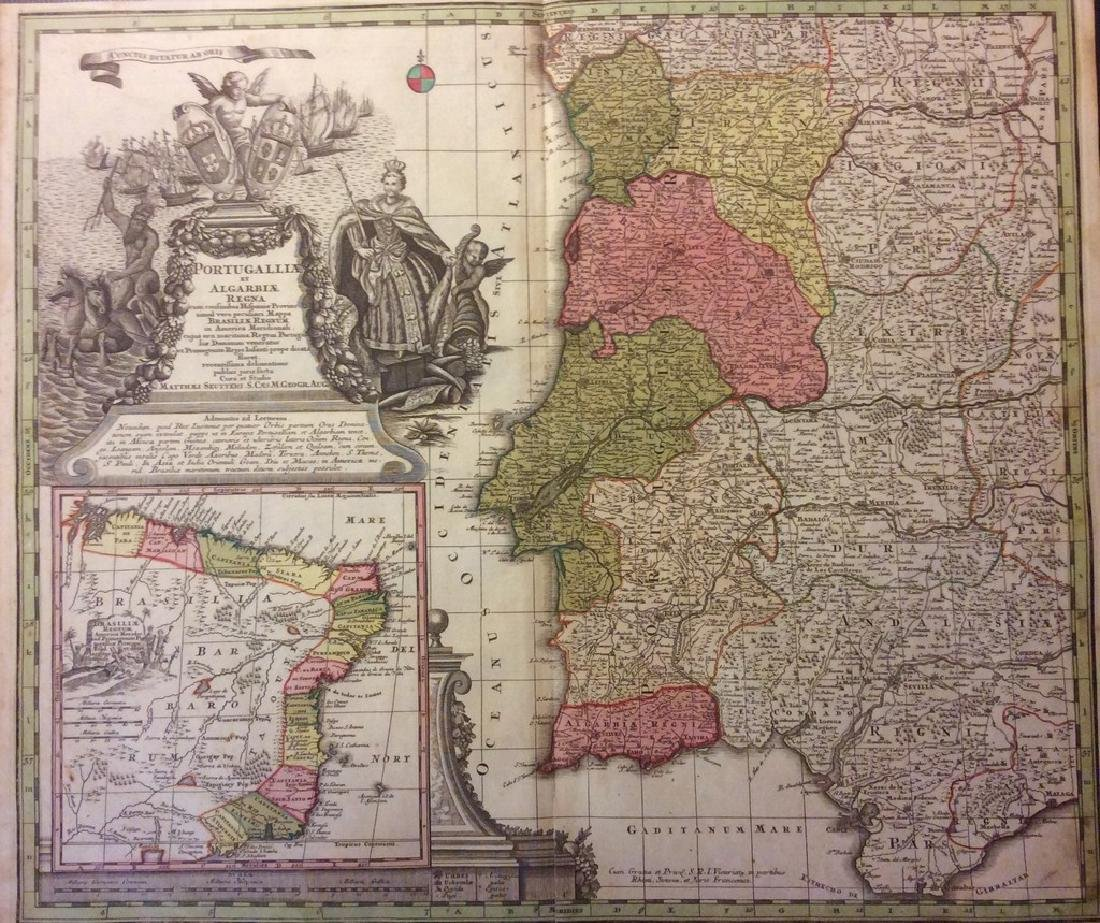 Seutter: Antique Map of Portugal, Brazil Insert, 1740