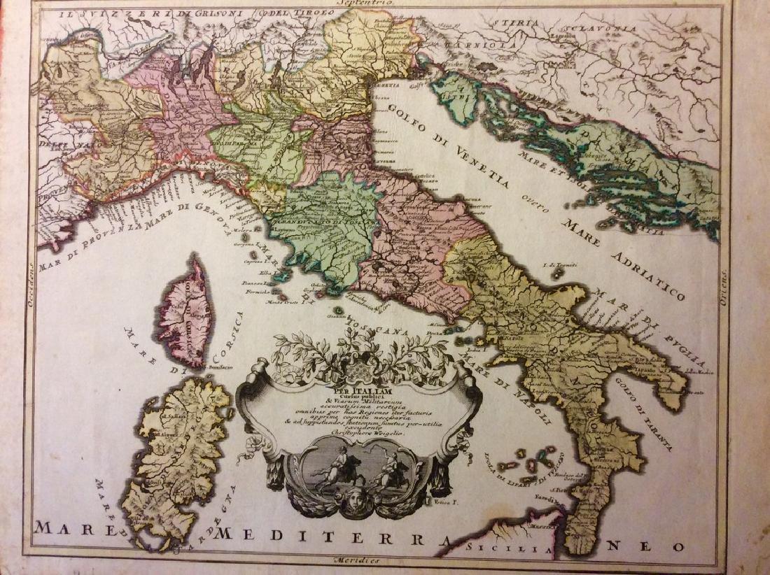Weigel: Antique Map of Italy, 1720
