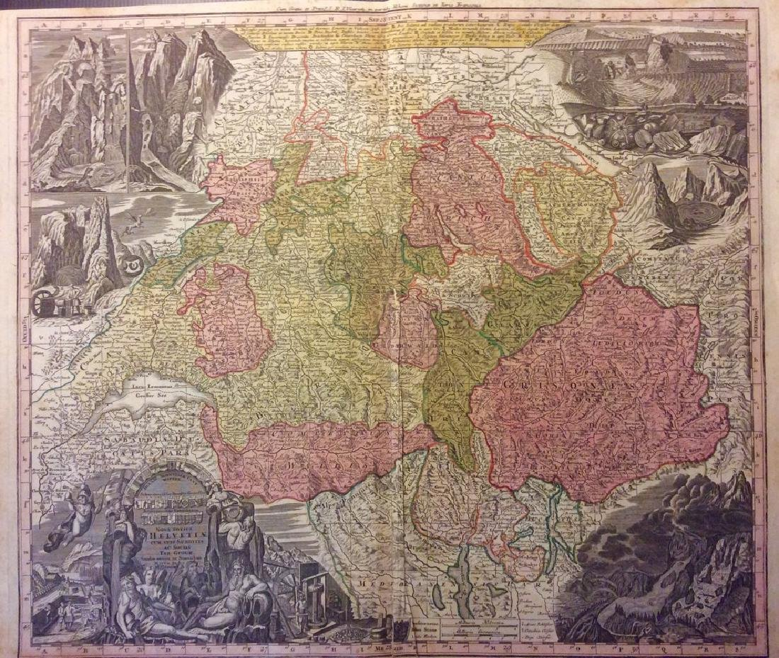 Seutter: Antique Map of Switzerland with Alpine Views