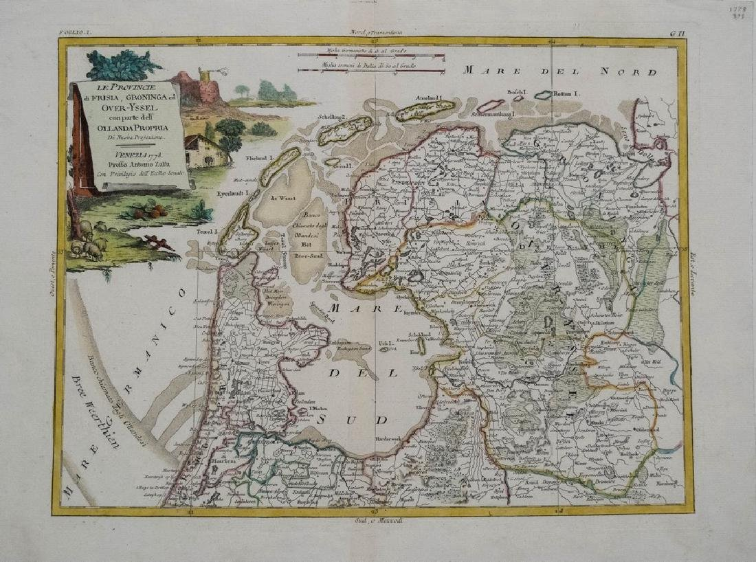Zatta: Antique Map of Northern Netherlands, 1778