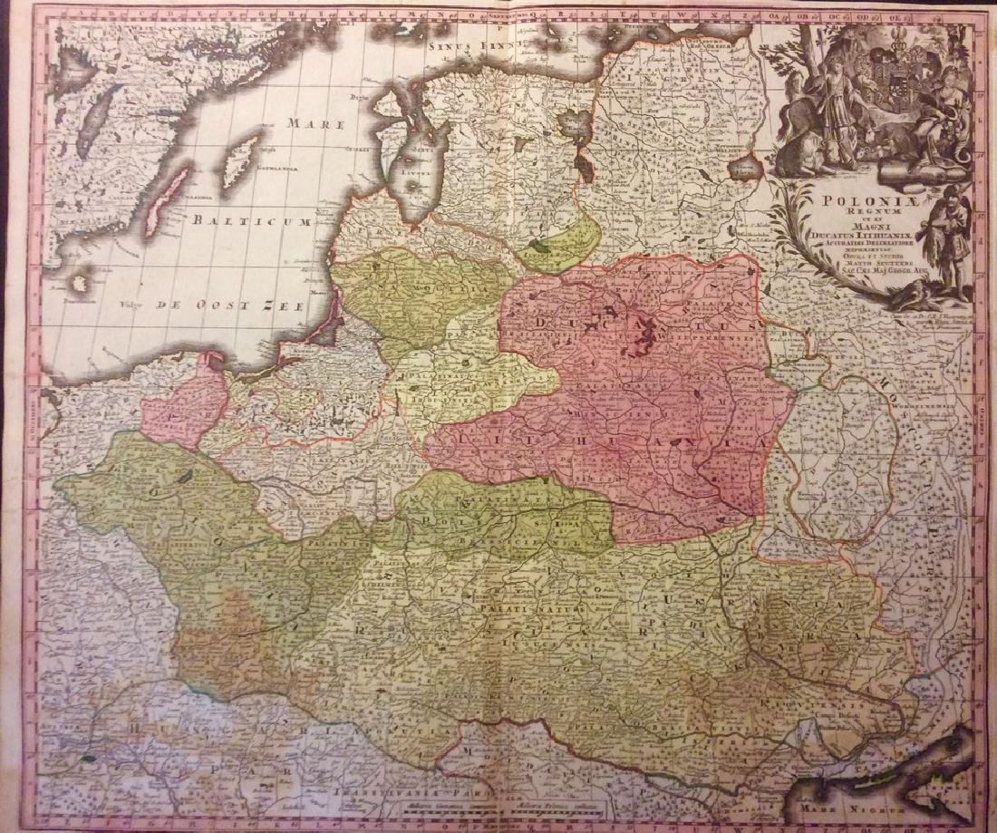 Seutter: Antique Map of Old Kingdom of Poland, 1740