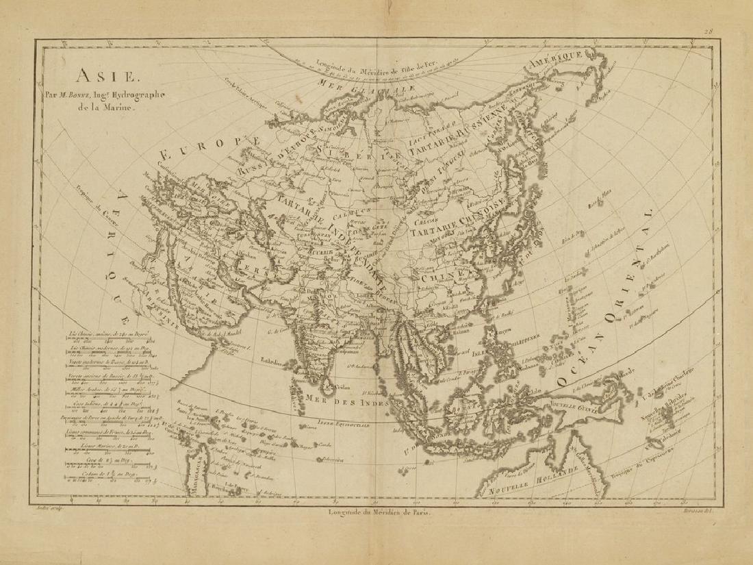 Bonne: Antique Map of Asia, 1787