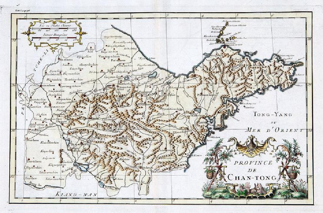 d'Anville: Antique Map of Shandong Province, China 1737