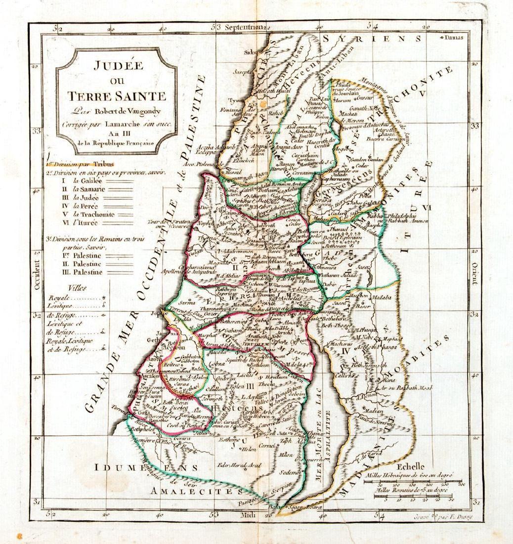 de Vaugondy: Antique Map of Judea / Holy Land, 1795