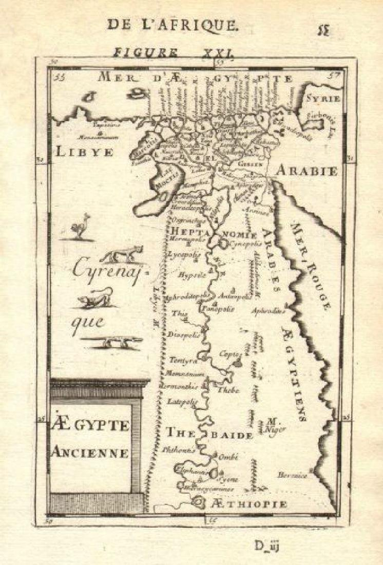 Mallet: Antique Map of Ancient Egypt & Nile Valley 1683