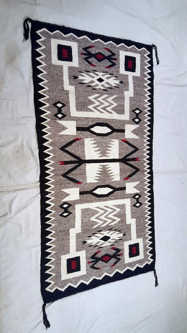 Navajo Storm Pattern Variation Pictorial Rug 1950's - 2