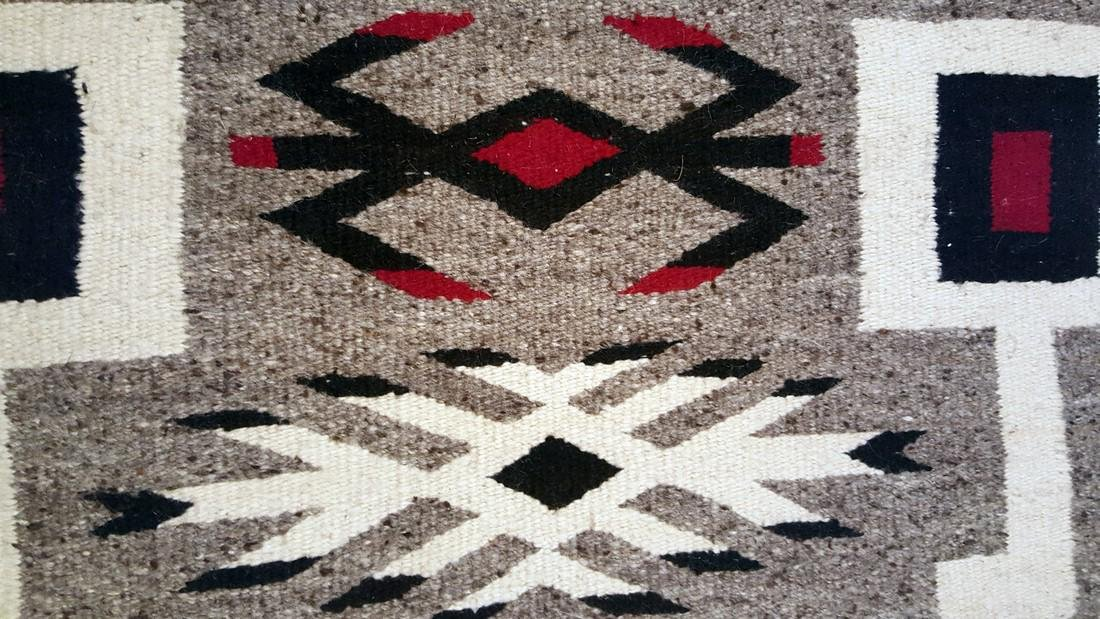 Navajo Storm Pattern Variation Pictorial Rug 1950's - 3