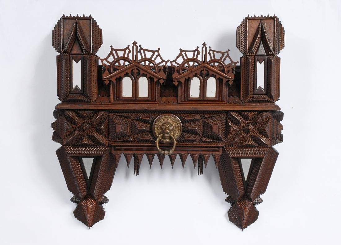 House Shaped Tramp Art Wall Piece with Drawer 1880