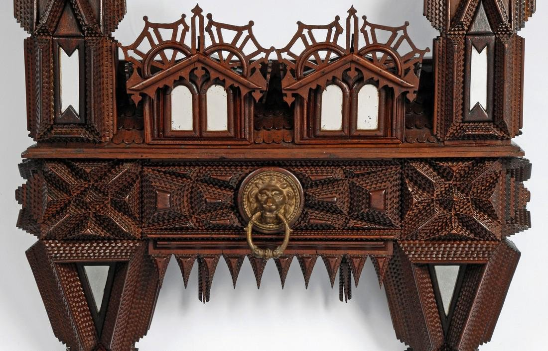 House Shaped Tramp Art Wall Piece with Drawer 1880 - 2
