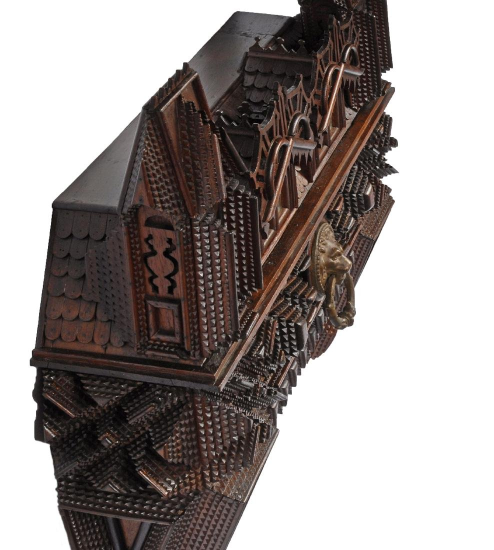 House Shaped Tramp Art Wall Piece with Drawer 1880 - 3