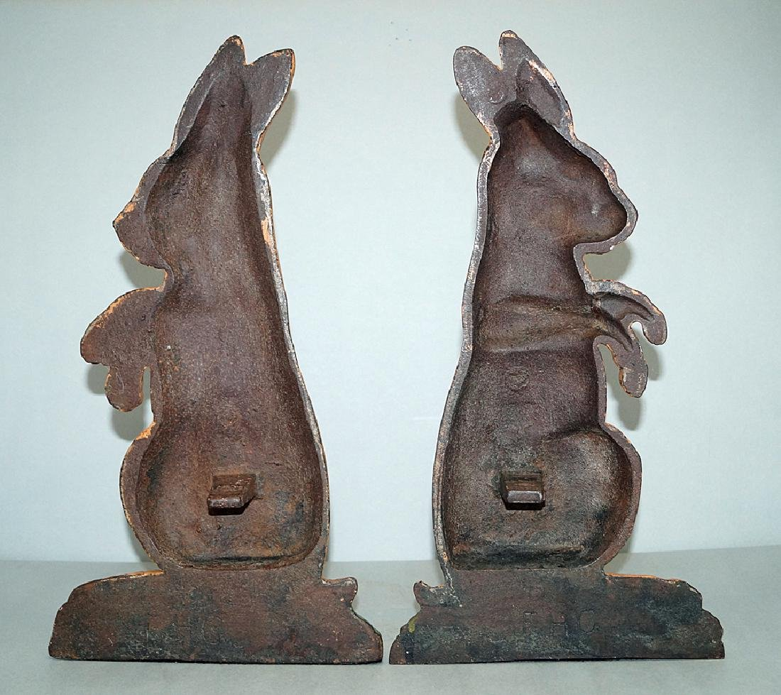 Cast Iron Rabbit Andirons Circa 1920s - 2