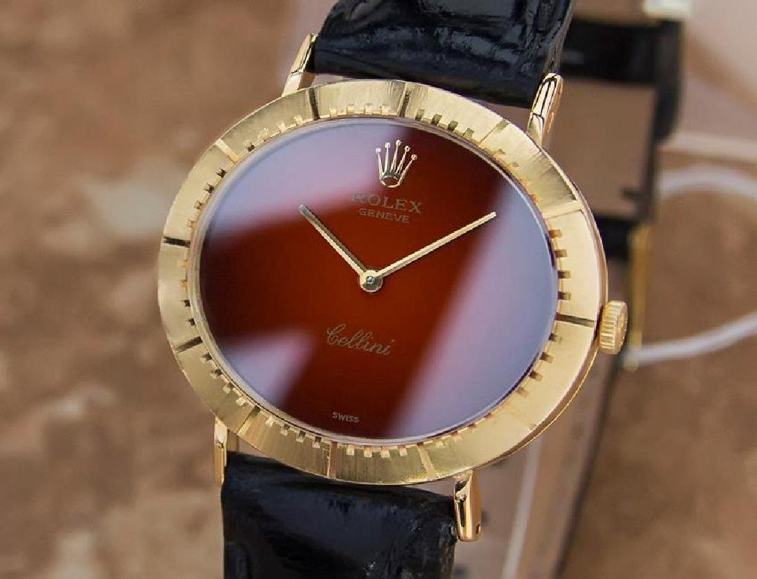 Vintage Rolex Cellini 18K Solid Gold 1970s Mens Watch