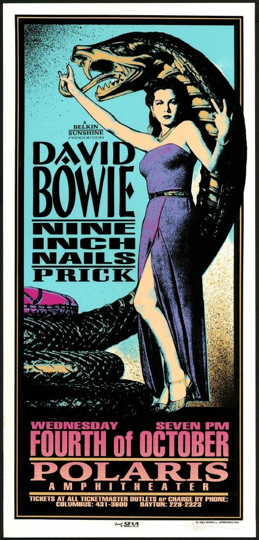 Gorgeous Signed 1995 David Bowie Poster