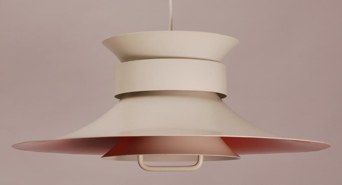 Danish White Painted Pendant Lamp, 1970s