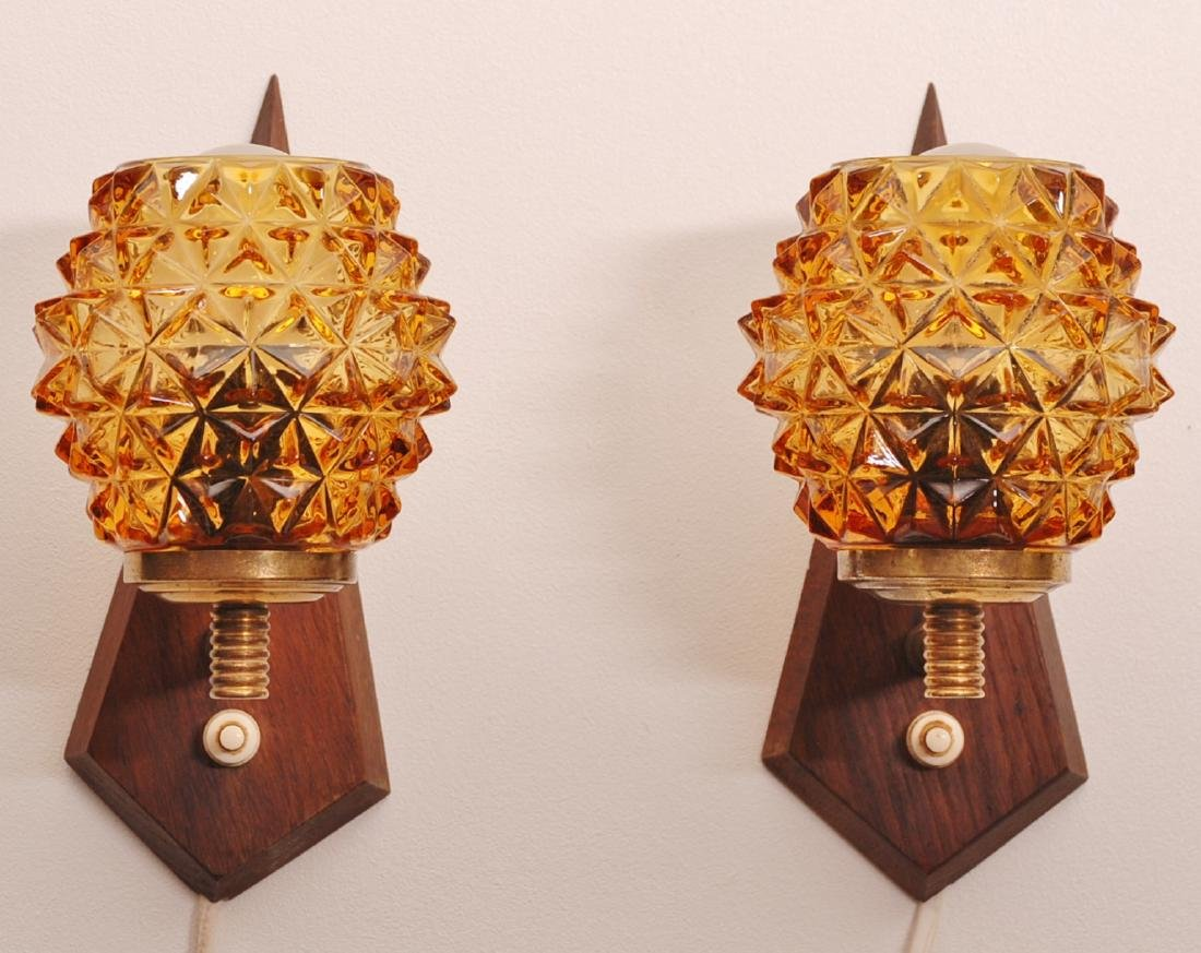 Set of Two Teak Wood Glass Wall Lamps, 1960s