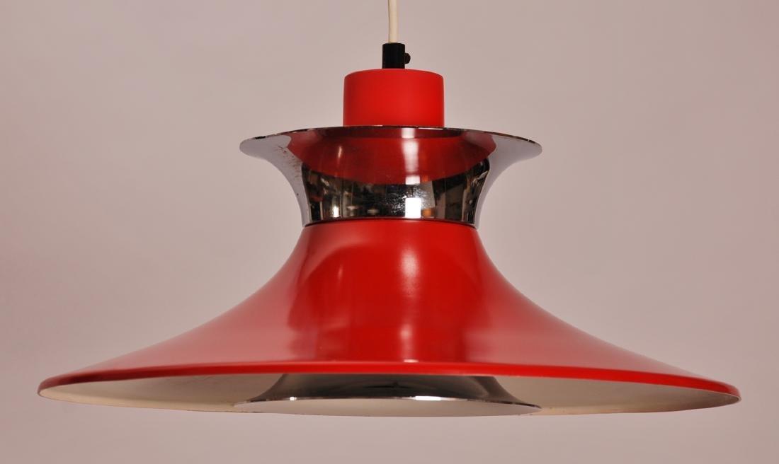 Danish Red Aluminum Pendant Lamp, 1960s