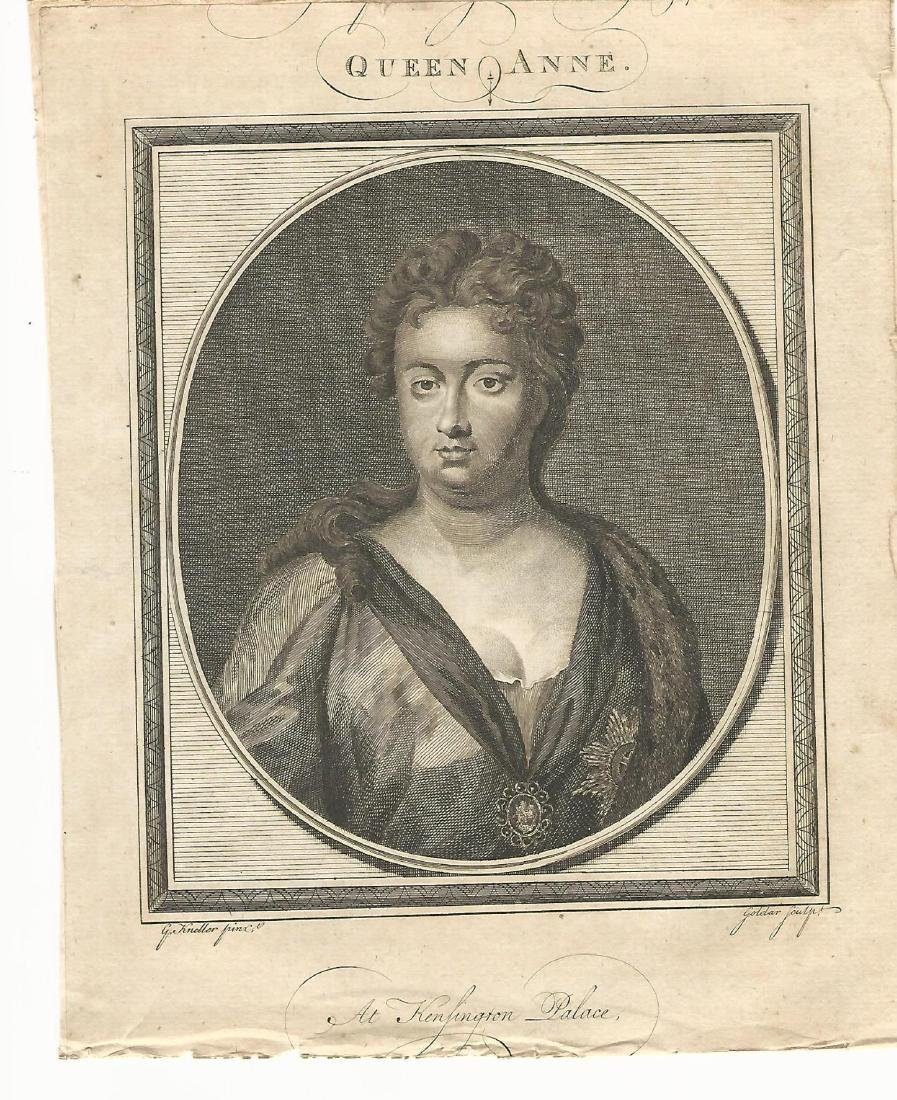 1786 Engraved Portrait of Queen Anne