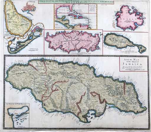 Senex Antique Map Jamaica British West Indies 1721